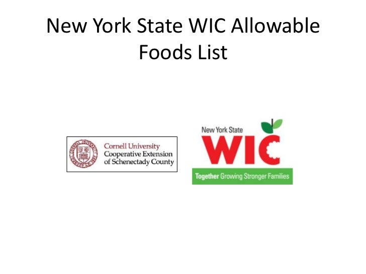New York State WIC Allowable Foods List<br />