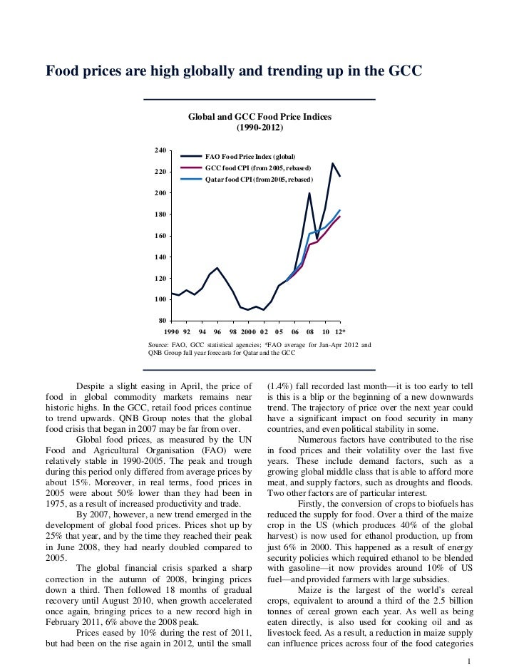 Food prices are high globally and trending up in the GCC                                       Global and GCC Food Price I...