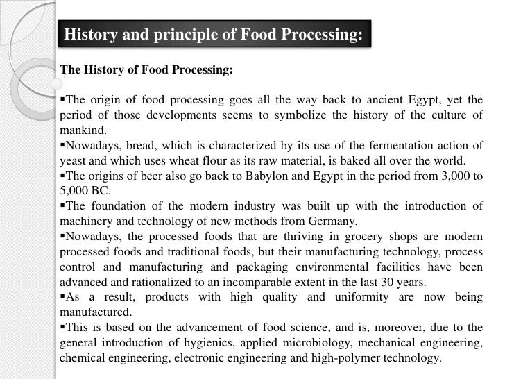 methods of food processing