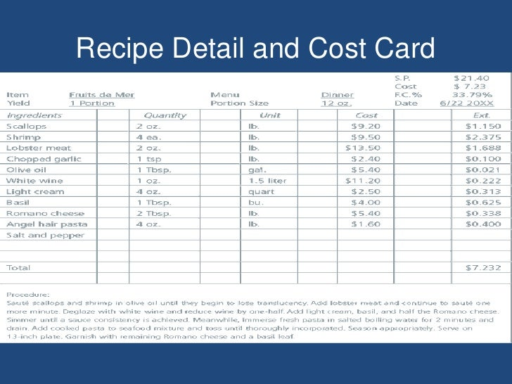 Free recipe cost card template 28 images knowing what each of free recipe cost card template by food production i forumfinder Image collections