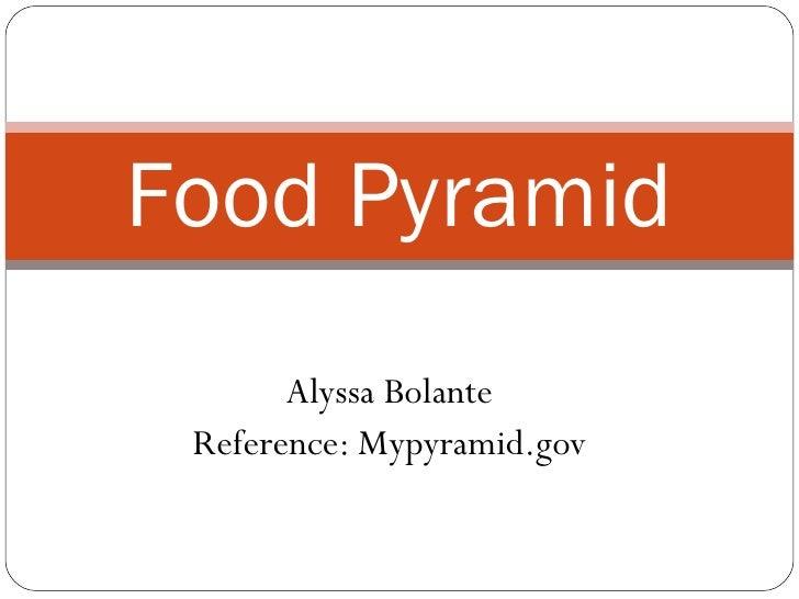 Alyssa Bolante Reference: Mypyramid.gov Food Pyramid