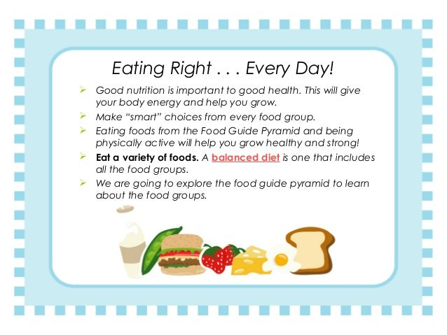 Eating Right . . . Every Day!  Good nutrition is important to good health. This will give your body energy and help you g...