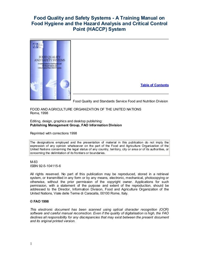 Food quality and safety systems a training manual on
