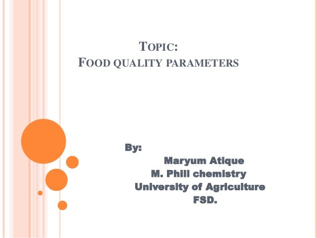 TOPIC: FOOD QUALITY PARAMETERS  By: Maryum Atique M. Phill chemistry University of Agriculture FSD.