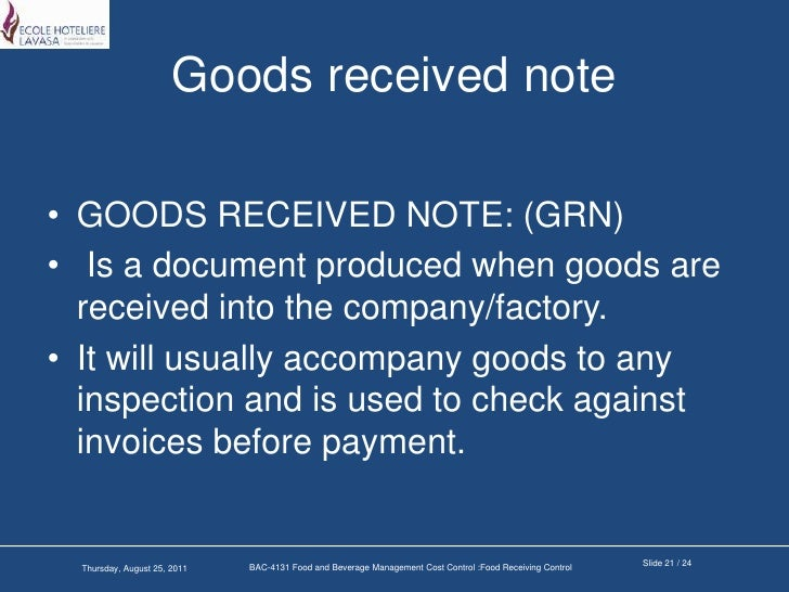Food receiving control – Goods Received Note Format