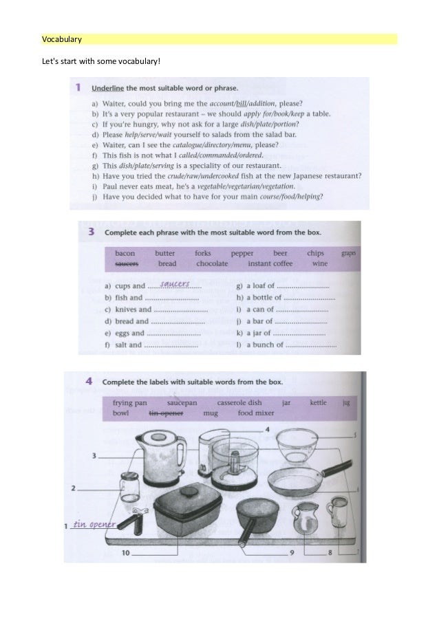 Restaurant Kitchen Vocabulary food, restaurants and cooking (with key)