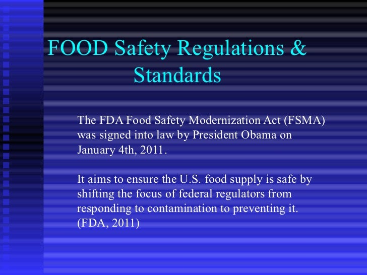 Food Service Regulations Are Issued By