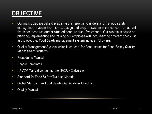 food safety management system for fast food chain rh slideshare net Food Safety McDonald's Beef McDonald's Food Safety Training