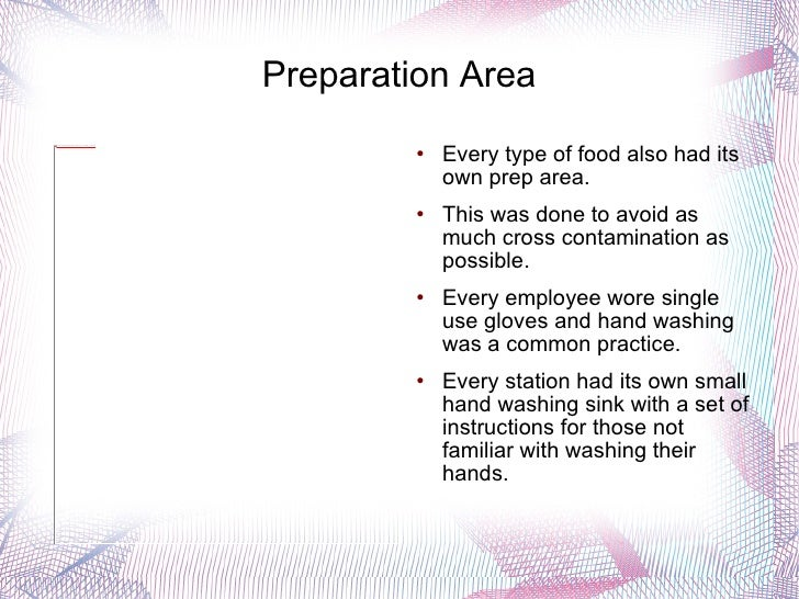 Preparation Area <ul><li>Every type of food also had its own prep area. </li></ul><ul><li>This was done to avoid as much c...