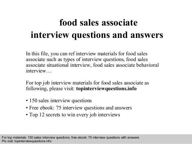 food sales associate interview questions and answers
