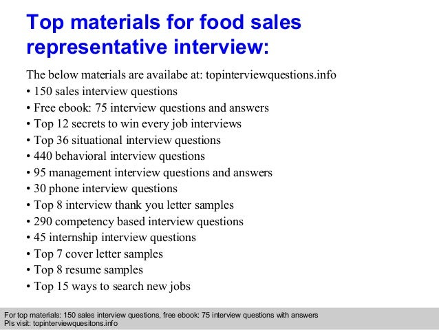 food sales representative interview questions and answers