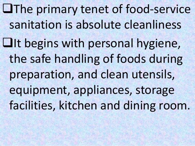 Definition Of Sanitation In Food Service