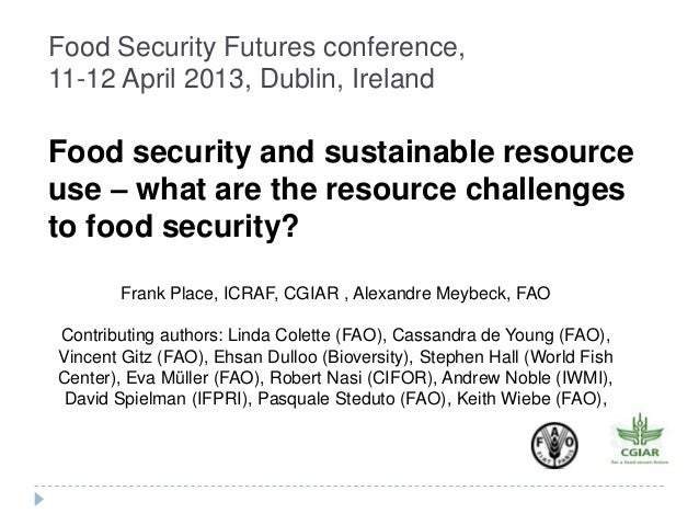 Food Security Futures conference,11-12 April 2013, Dublin, IrelandFood security and sustainable resourceuse – what are the...