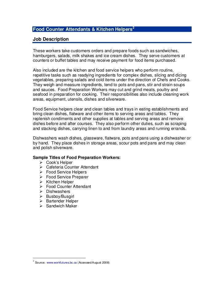 cover letter examples for food service manager - Food Preparer Job Description