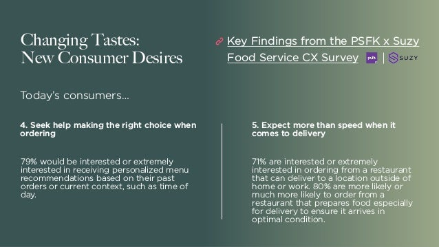 Changing Tastes: New Consumer Desires Today's consumers… 5. Expect more than speed when it comes to delivery 71% are inter...