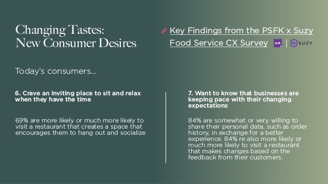 Changing Tastes: New Consumer Desires Today's consumers… 7. Want to know that businesses are keeping pace with their chang...