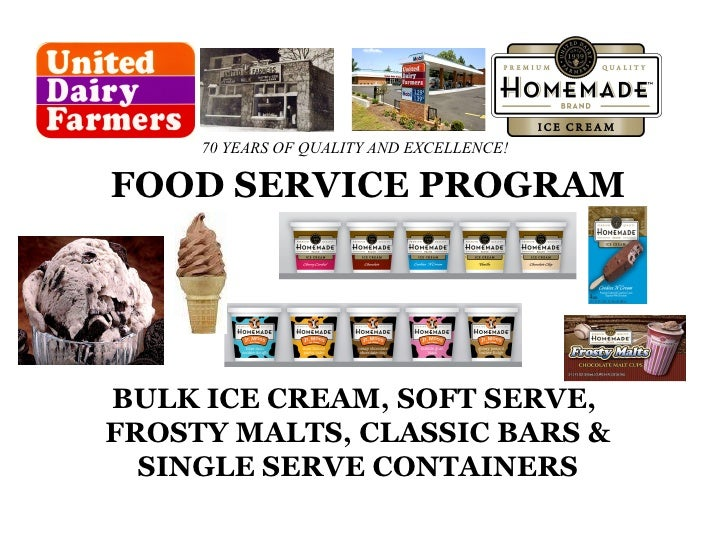BULK ICE CREAM, SOFT SERVE,  FROSTY MALTS, CLASSIC BARS & SINGLE SERVE CONTAINERS FOOD SERVICE PROGRAM 70 YEARS OF QUALITY...