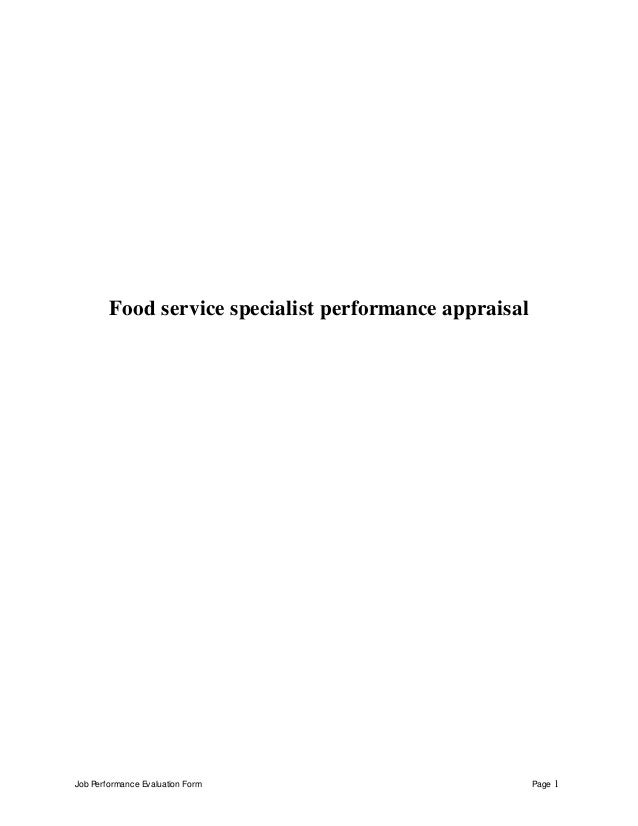 Job Performance Evaluation Form Page 1 Food service specialist performance appraisal
