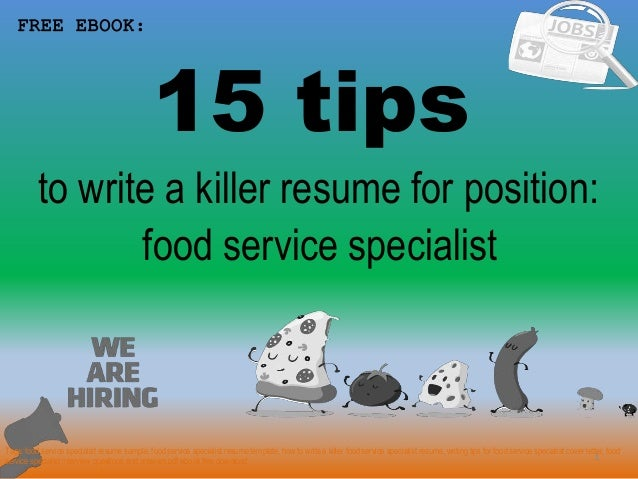 Food Service Specialist Resume Sample Pdf Ebook Free Download