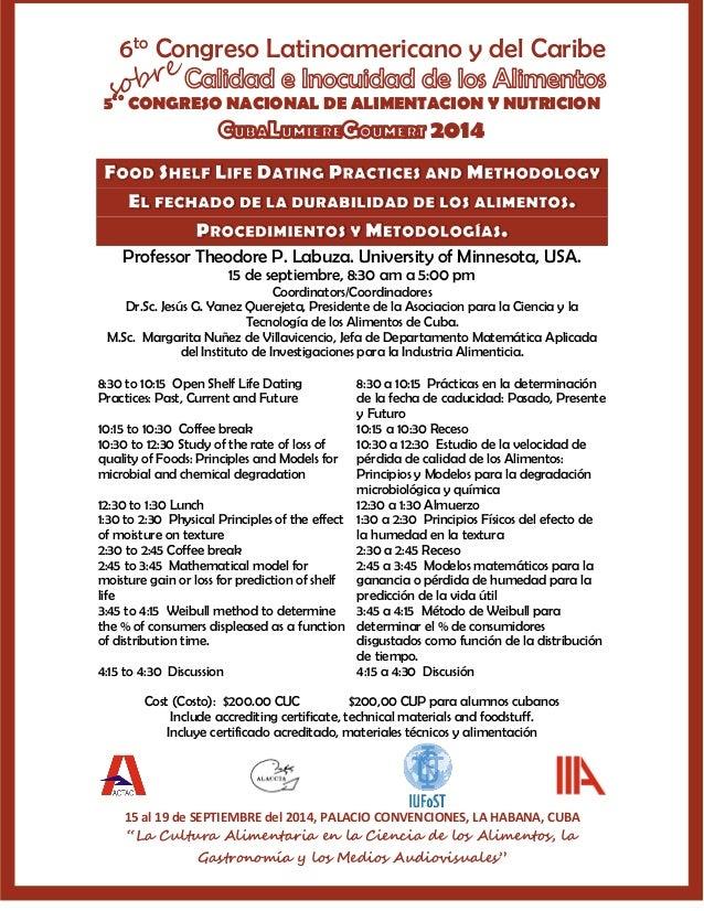 6to Congreso Latinoamericano y del Caribe 5to CONGRESO NACIONAL DE ALIMENTACION Y NUTRICION 2014 15 al 19 de SEPTIEMBRE de...