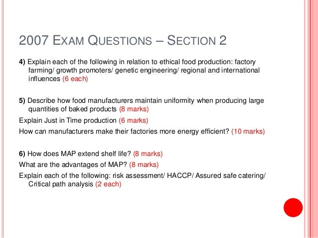 Food Technology - Exam Questions