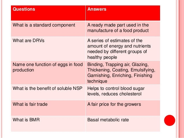 Food Technology - Revision Questions