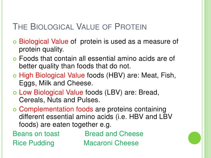 Foods Of Low Quality Amino Acids
