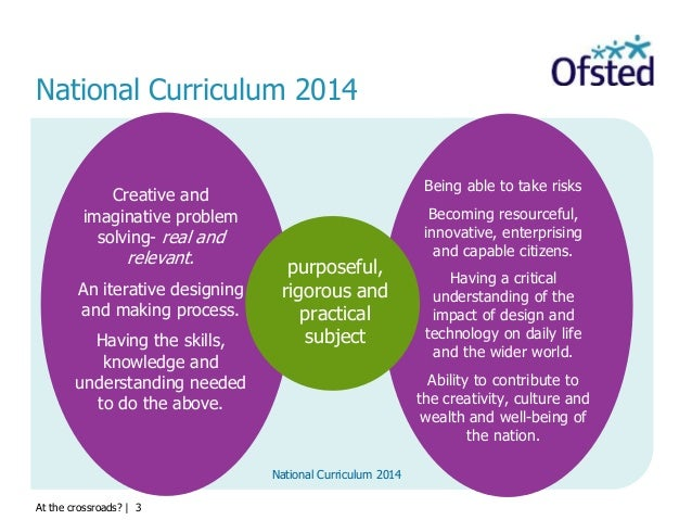 At the crossroads?   3 National Curriculum 2014 Being able to take risks Becoming resourceful, innovative, enterprising an...
