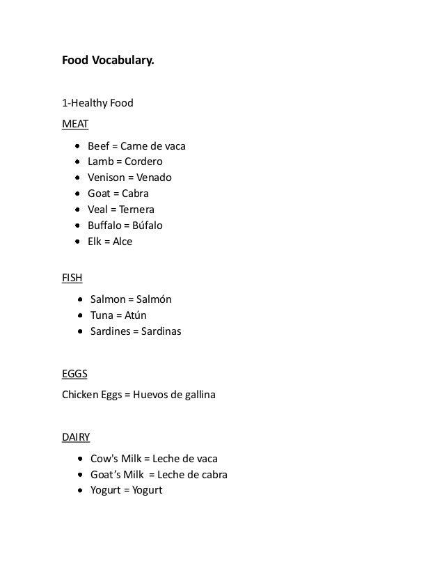 Food Vocabulary.1-Healthy FoodMEATBeef = Carne de vacaLamb = CorderoVenison = VenadoGoat = CabraVeal = TerneraBuffalo = Bú...