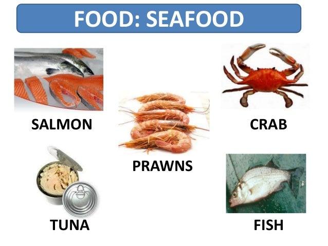 FOOD: SEAFOOD FISHTUNA SALMON CRAB PRAWNS