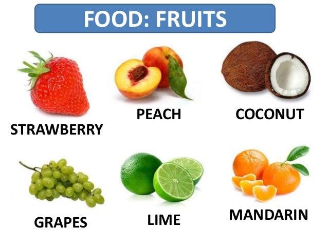 FOOD: FRUITS STRAWBERRY PEACH COCONUT GRAPES LIME MANDARIN