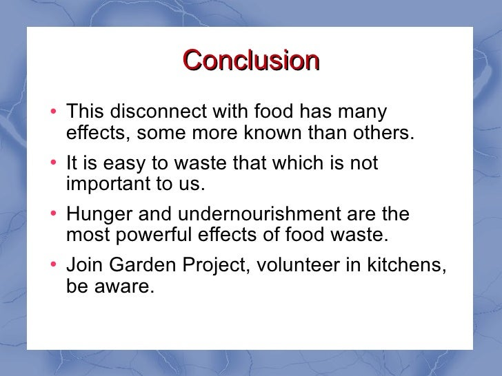 Conclusion for food waste