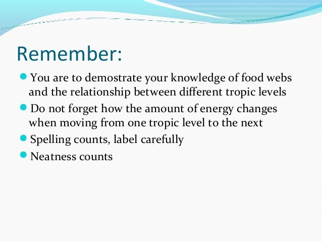 Remember:  You are to demostrate your knowledge of food webs  and the relationship between different tropic levels  Do n...