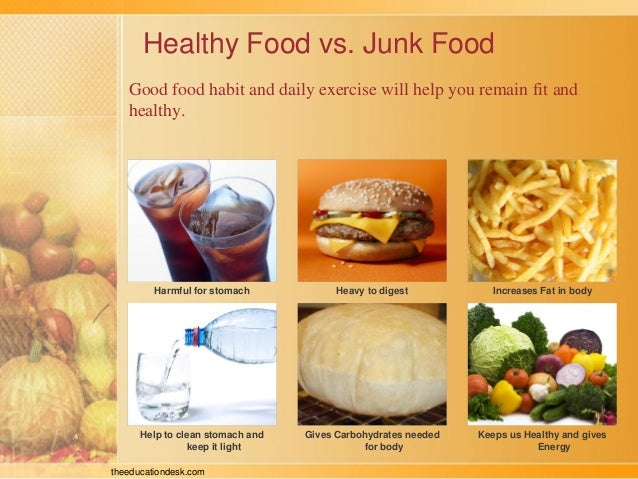 avoid junk food eat healthy food essay Junk food is a pejorative term for food containing a large number of calories from sugar or fat with little fibre, protein, vitamins or minerals the term can also refer to high protein food like meat prepared with saturated fat.