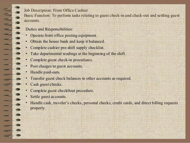 Job Description: Front Office Cashier ...