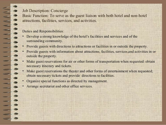 Concierge Job Description. Job Description For Resume Retail