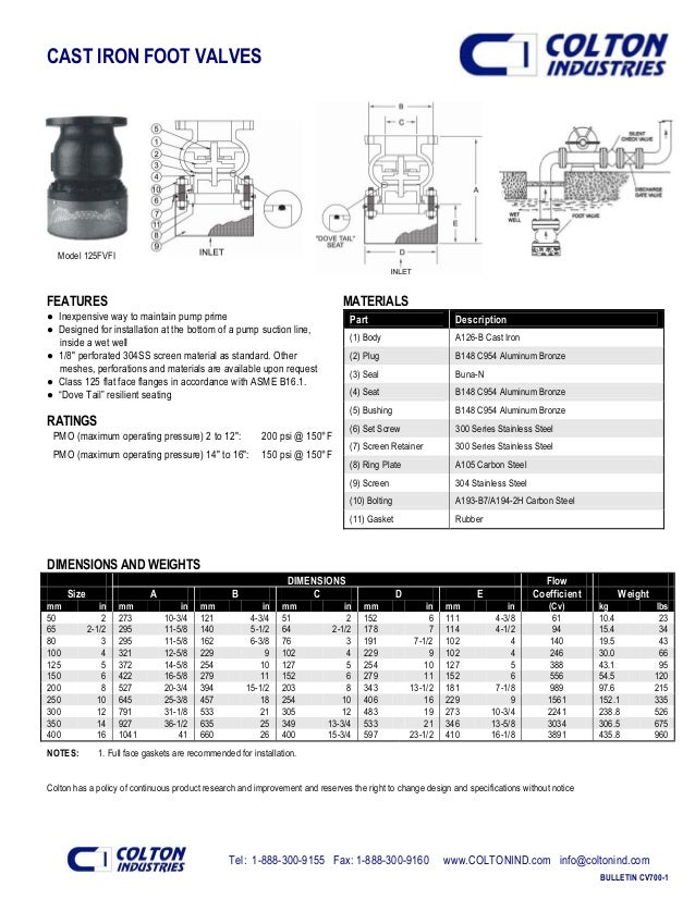 Tel: 1-888-300-9155 Fax: 1-888-300-9160 www.COLTONIND.com info@coltonind.com BULLETIN CV700-1 CAST IRON FOOT VALVES Model ...