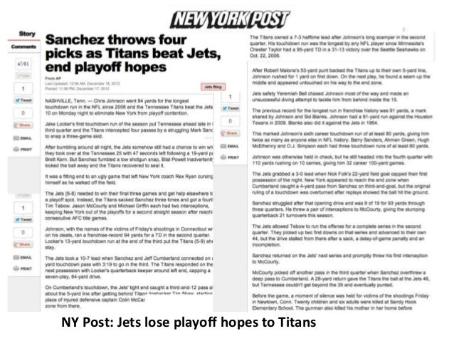 NY Post: Jets lose playoff hopes to Titans