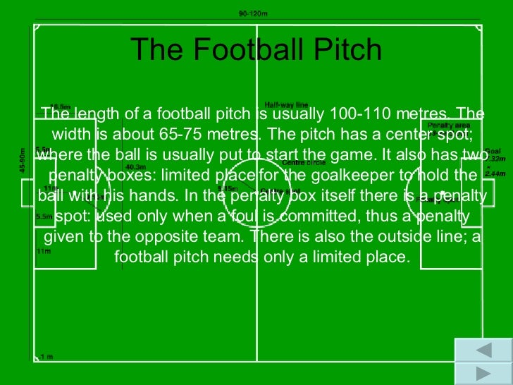 The Football Pitch The length of a football pitch is usually 100-110 metres. The width is about 65-75 metres. The pitch ha...