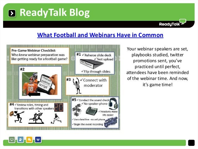 ReadyTalk Blog   What Football and Webinars Have in Common                               Your webinar speakers are set,   ...