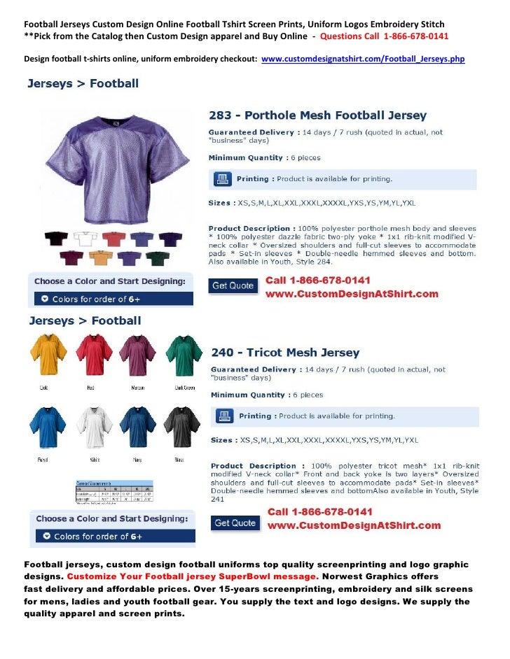 Football Jerseys Custom Design Online Football Tshirt Screen Prints, Uniform Logos Embroidery Stitch**Pick from the Catalo...