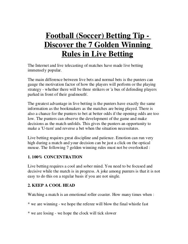 Soccer betting rules