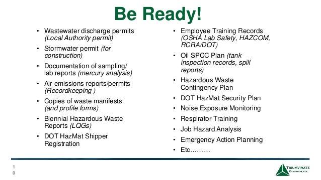 Conducting Internal Audits & Preparing for EPA/DEP/OSHA