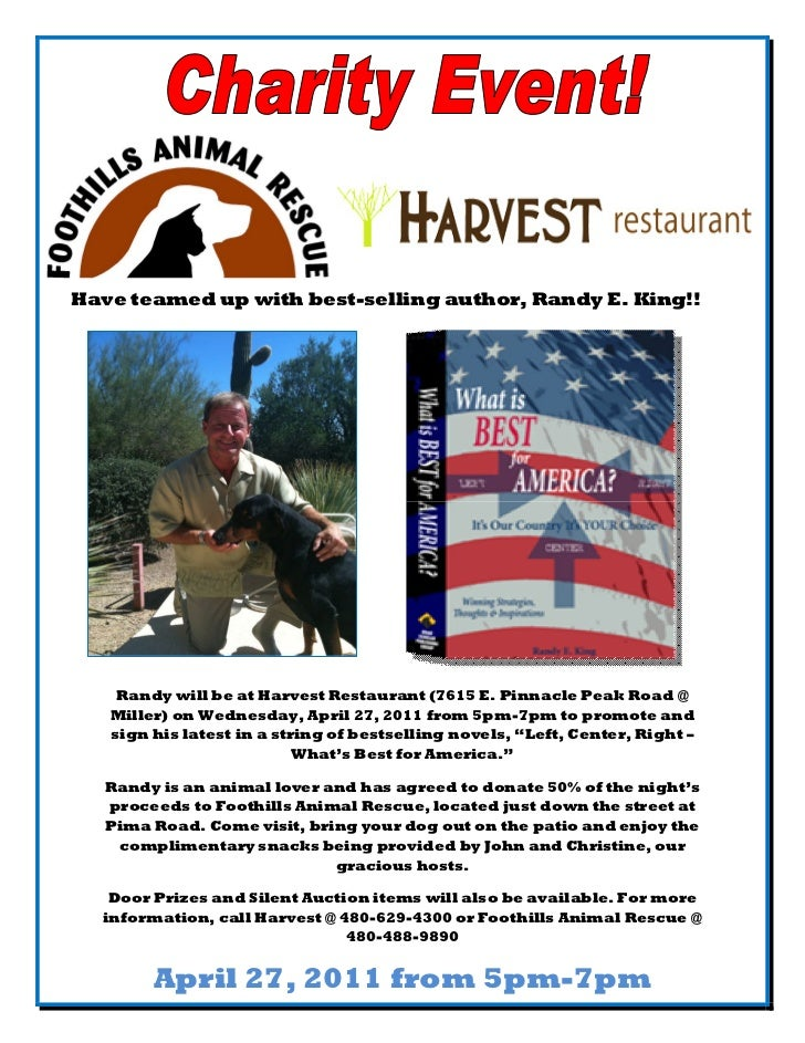 &Have teamed up with best-selling author, Randy E. King!!    Randy will be at Harvest Restaurant (7615 E. Pinnacle Peak Ro...