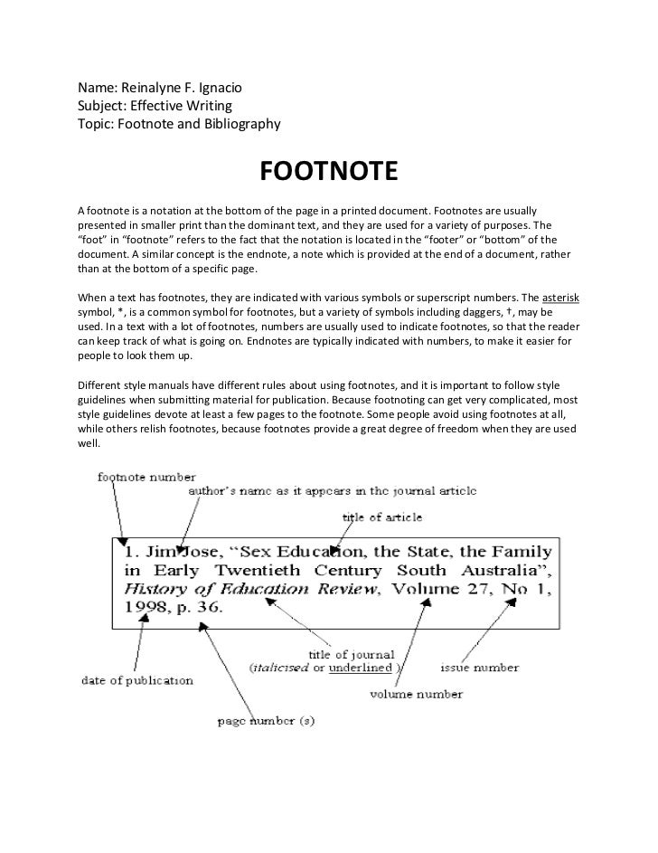 Foot notes in essay