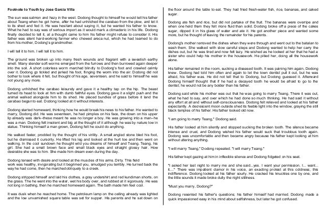 conclusion of footnote to youth by jose garcia villa Arrangement in black and white by dorothy parker arrangement in black and white by dorothy parker a footnote to youth by jose garcia villa.