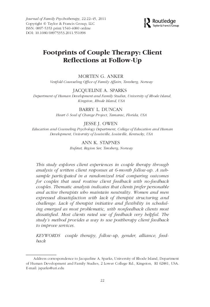 Journal of Family Psychotherapy, 22:22–45, 2011                                                           Copyright © Tayl...