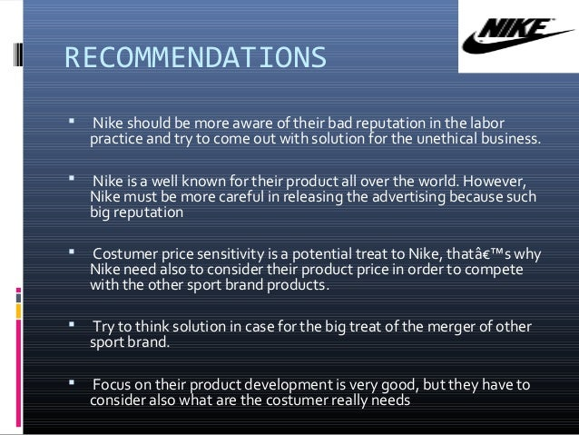 recommendations for nike company
