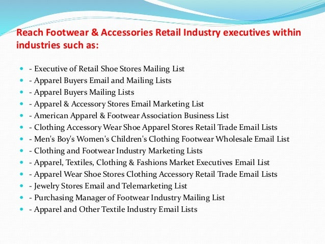 Footwear & accessories retail industry email and mailing list