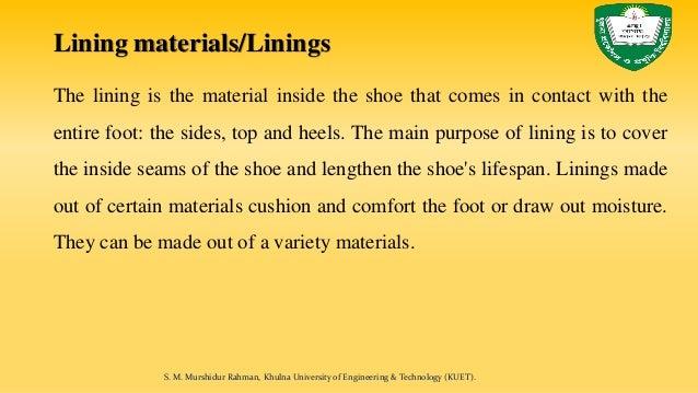 Footwear lining materials Slide 2